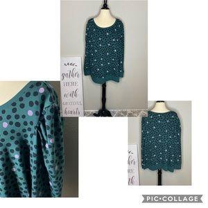Sweaters - Mod Polka Dit RuffleShoulder Sweatshirt NWT Sz 2X